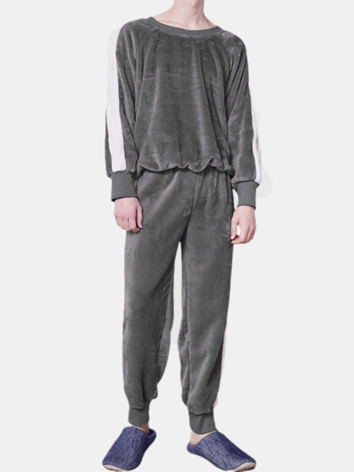Men Coral Fleece Thicken Pajamas Set Contrast Color Soft Thermal O Neck Loungewear