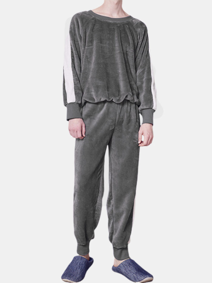 Men Coral Fleece Thicken Pajamas Set Contrast Color Soft Thermal O Neck Loungewear