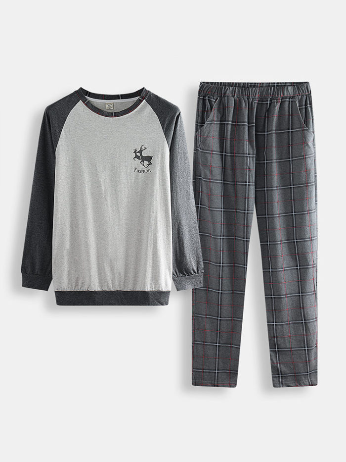 Men Deer Contrast Color Cotton Pajamas Set Comfortable O Neck Plaid Stretch Pants Loungewear