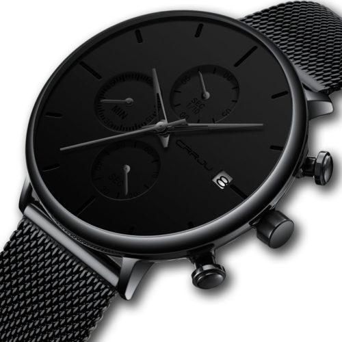 Men Full Mesh Steel Band Fashion Needle Dial Design Calendar Quartz Watch