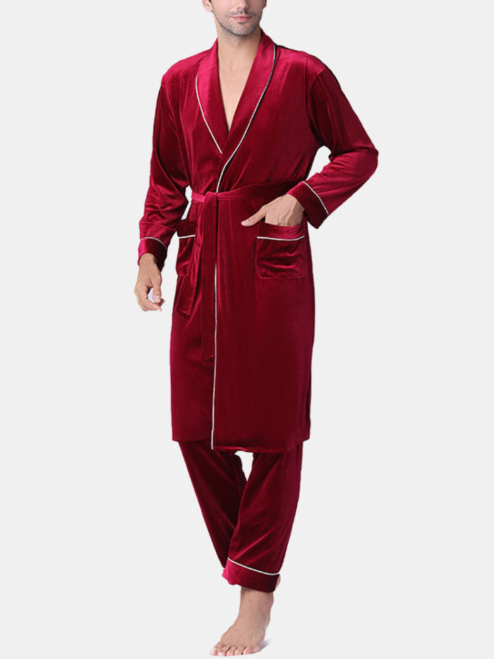 Men Gold Velvet Luxury Pajamas Robe Set Smooth Plain Bathrobe Loungewear With Pockets