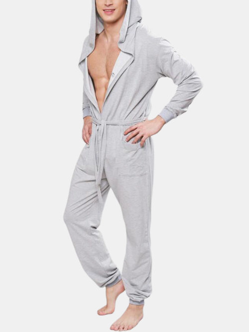 Men Gray Loose Jumpsuit Cotton Comfy Drawstring Buttons Down Home Plain Loungewear With Pockets