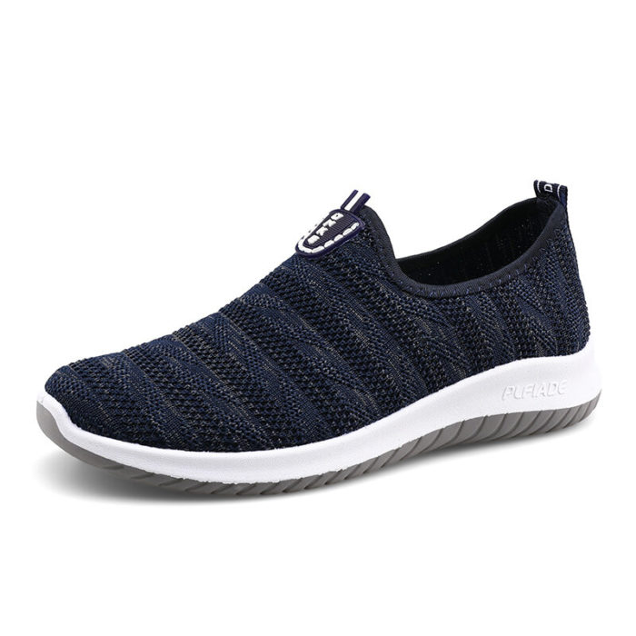 Men Knitted Fabric Breathable Non Slip Sports Slip On Casual Sneakers
