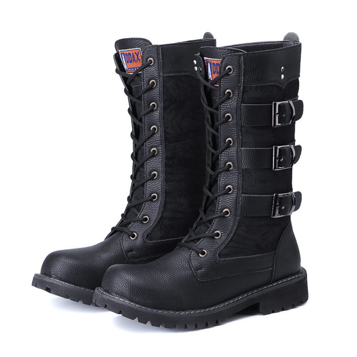 Men Metal Buckle Mid-calf Outdoor Lace Up Motorcycle Boots