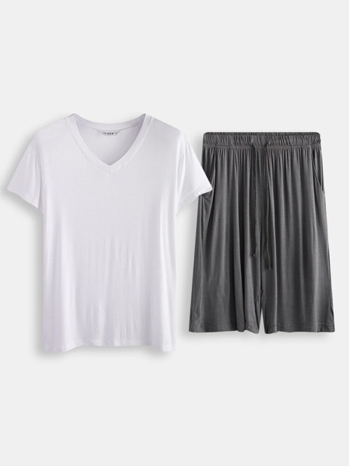 Men Plain Short Sleeve Pajamas Set Two Pieces Casual Loungewear