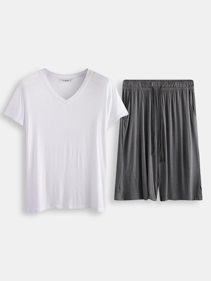 Men Plain Short Sleeve Pajamas Set Two Pieces Casual Loungewear