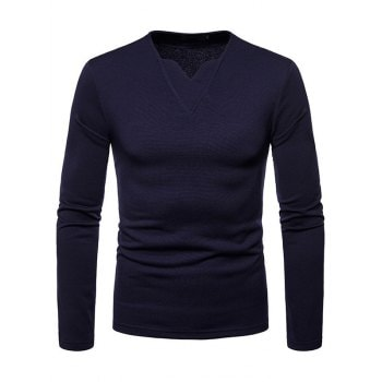 Men Plus Velvet Warm V Neck Long Sleeved T Shirt Bottoming Shirt