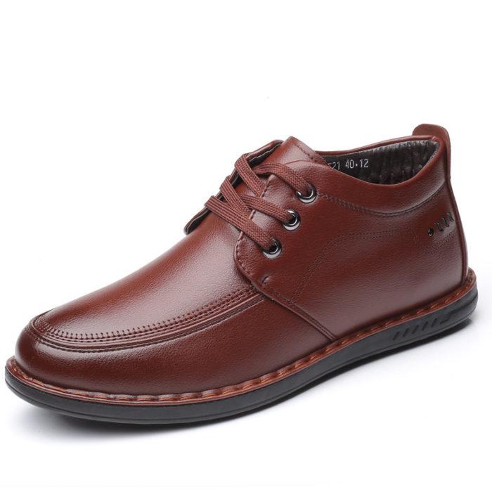 Men Pure Color Microfiber Leather Non Slip Soft Casual Boots
