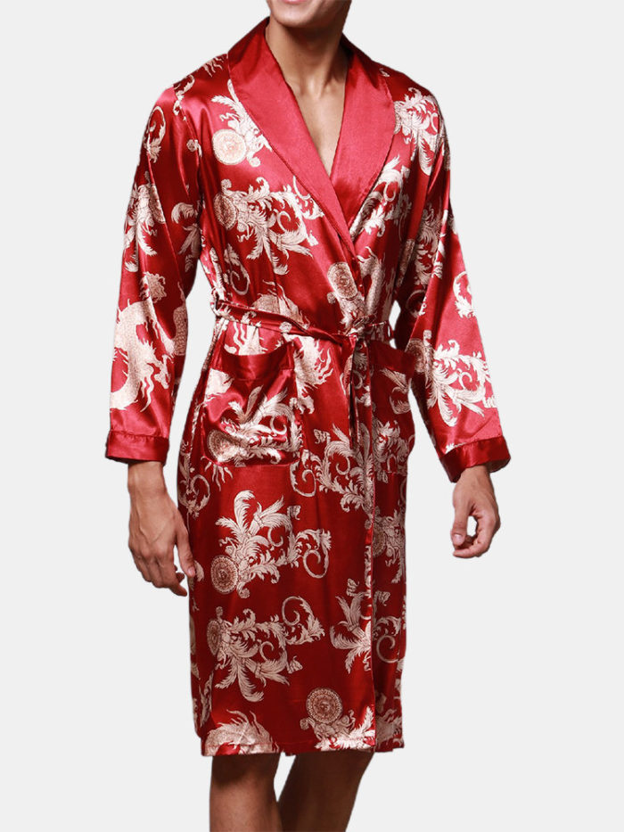 Men Satin Floral Print Pajamas Robe Smooth Loose Breathable Home Loungewear With Pockets