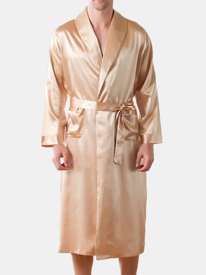 Men Satin Pajamas Set Smooth Loose Breathable Plain Home Loungewear