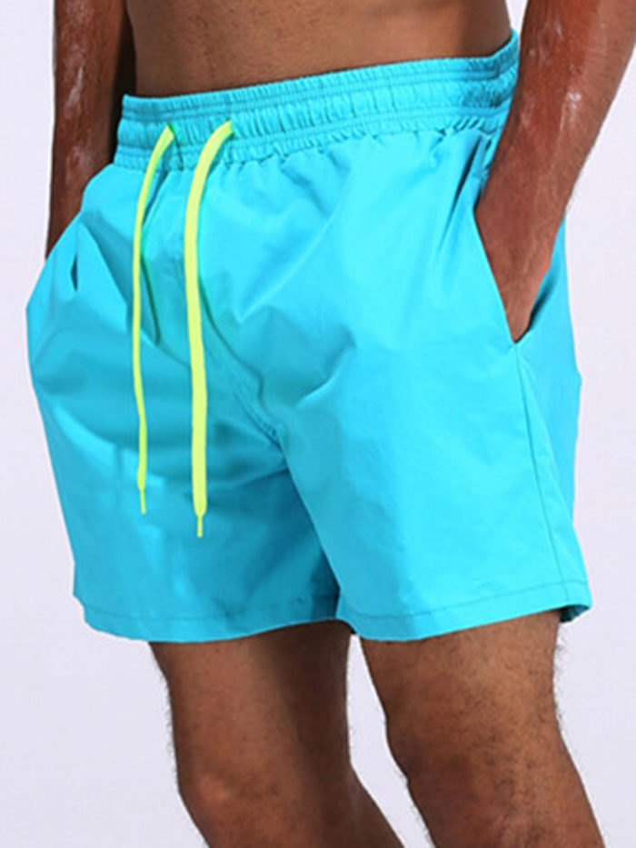Men Shinny Plain Waterproof Swim Trunks Mid Length Loose Holiday Board Shorts with Mesh Liner