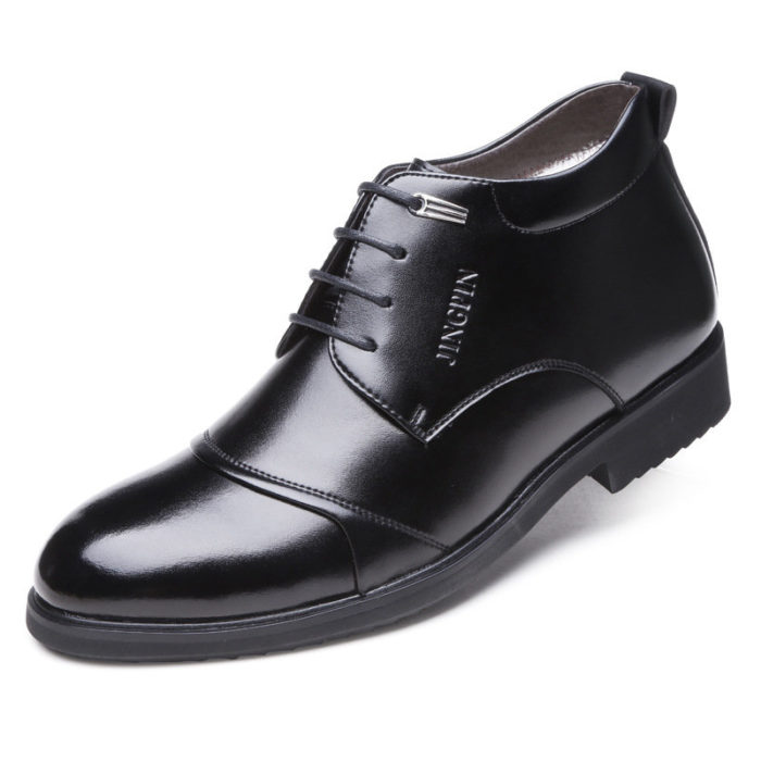 Men Stylish Cap To Warm Plush Lining Lace Up Business Formal Ankle Boots