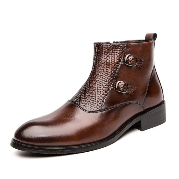 Men Stylish Double Monk Zipped Inside Casual Leather Dress Boots