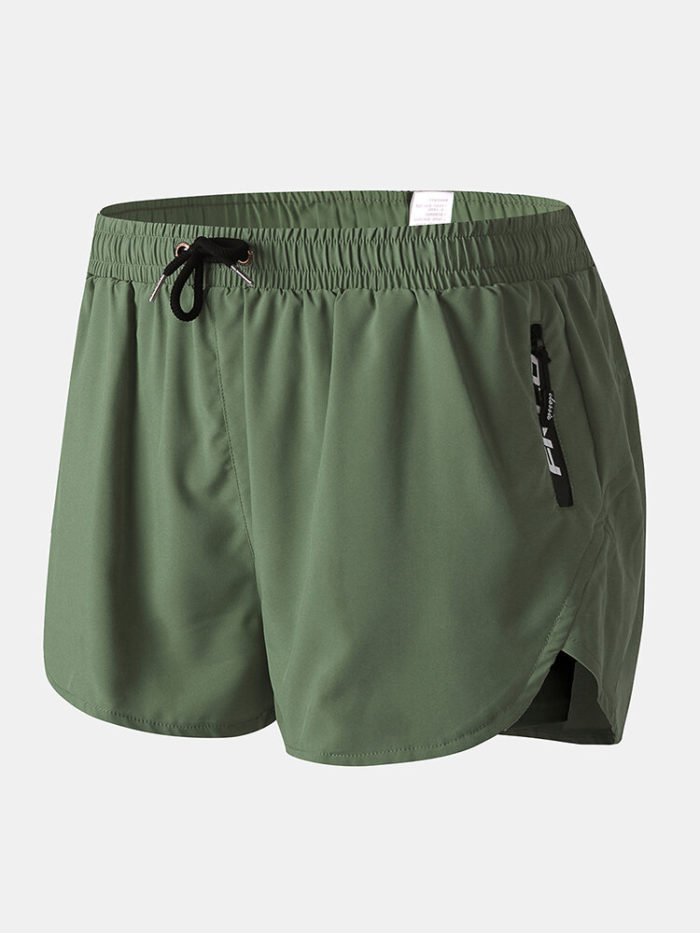 Men Swim Trunks with Compression Liner Breathable Moisture Wicking Liner Zipper Pocket Running Mini Shorts