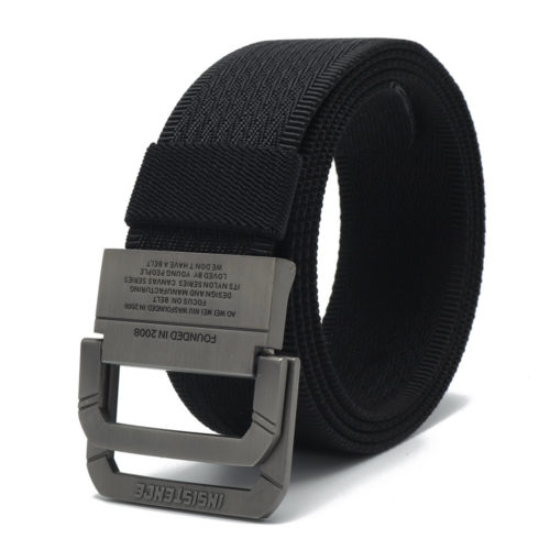 Men Vogue Belt Double Ring Buckle Nylon Canvas Belt Adjustable Long Weave Belt