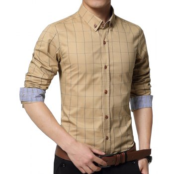 Men s New Fashion Plaid Business Long Sleeve Shirt