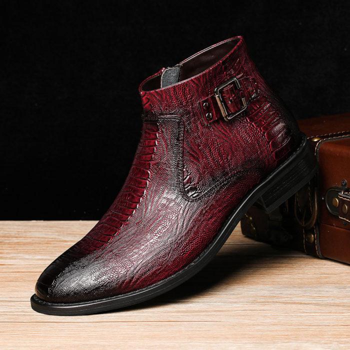 Menico Men Cow Leather Non Slip Metal Buckle Crocodile Pattern Casual Boots