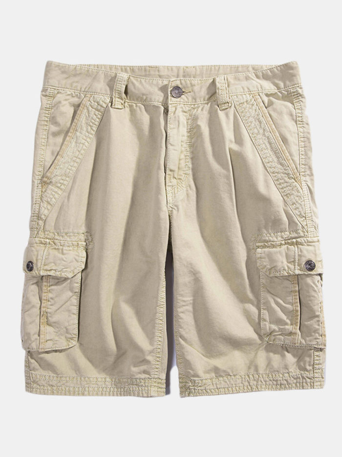 Mens 100% Cotton Solid Color Casual Summer Shorts Outdoor Multi-pocket Cargo Shorts