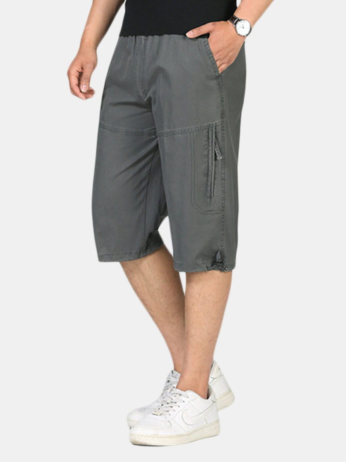 Mens 100%Cotton Multi-pocket Cargo Shorts Solid Color Loose Fit Casual Shorts