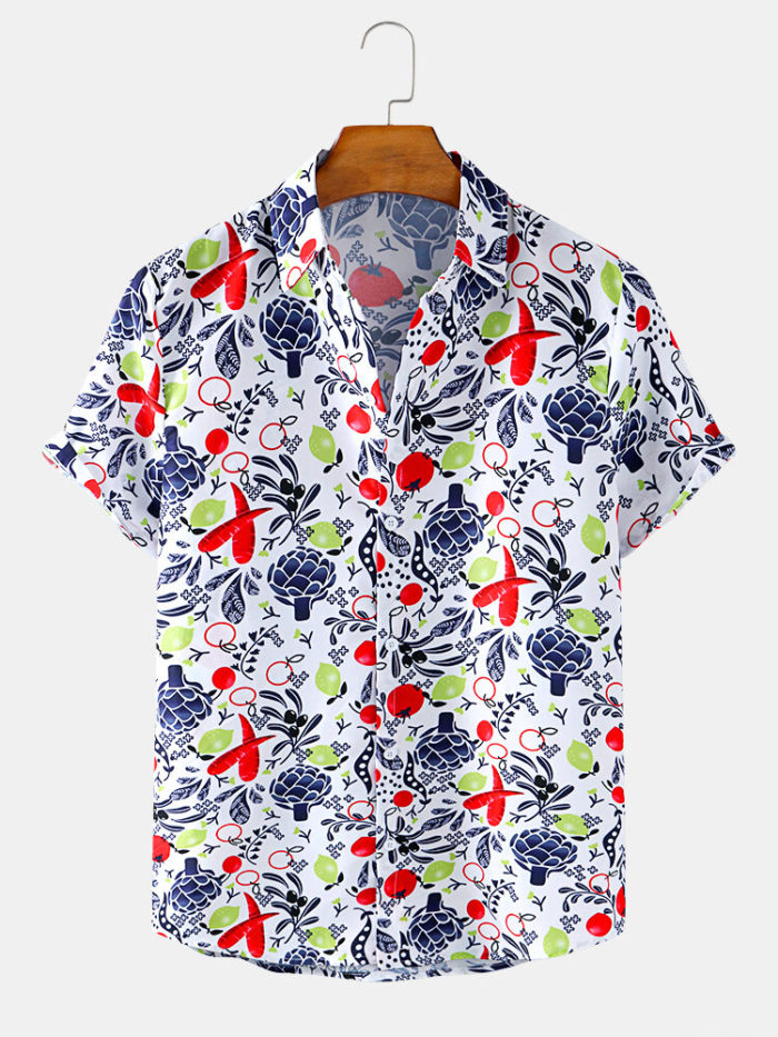 Mens Abstract Plant Print Breathable Casual Summer Short Sleeve Shirts