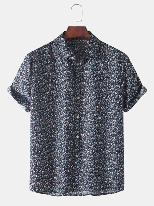 Mens Allover Floral Print Casual Breathable & Thin Short Sleeve Shirts