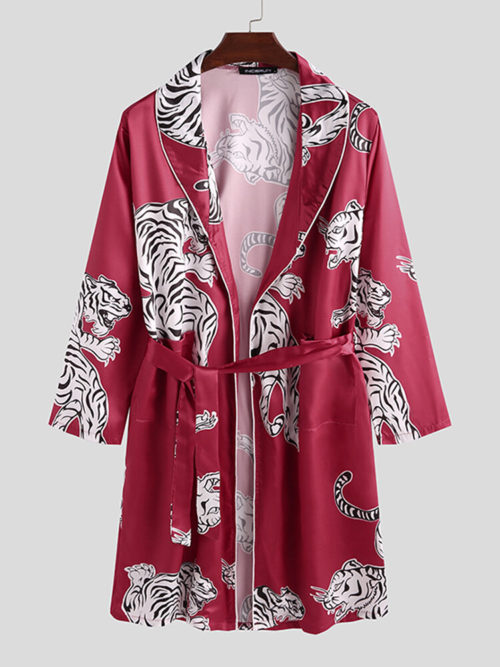 Mens Animal Tiger Print Affordable Silk Pajama Robe Shawl Collar Smooth Sleepwear
