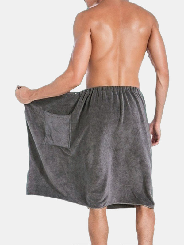 Mens Bathrobe Beach Towels Magic Button Quick Dry Shorts Skirts Homewear With Pocket