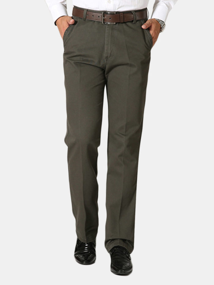 Mens Business Cotton Breathable Trousers Straight Leg Solid Color Casual Pants