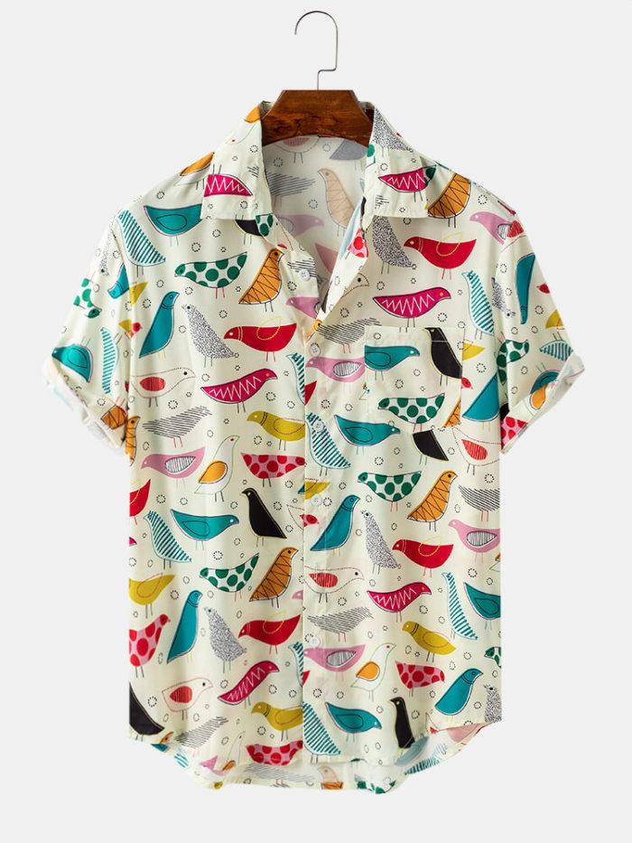 Mens Cartoon Colorful Birds Print Loose Light Short Sleeve Shirts