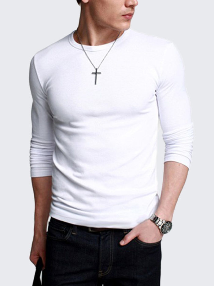 Men's Casual Slim Fit O-neck Solid Multicolor Long sleeve Cotton T-shirt
