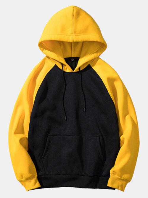 Mens Colorblock Pocket Long Sleeve Casual Loose Drawstring Hoodies
