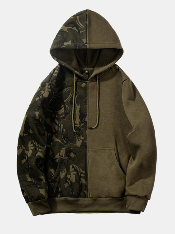 Mens Cool Patchwork Camouflage Muff Pocket Hoodies