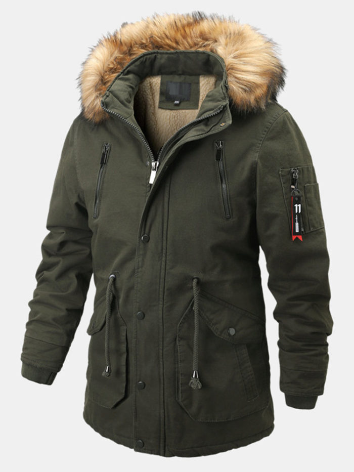 Mens Cool Style Cotton Thicken Plush Collar Windproof Warm Jackets