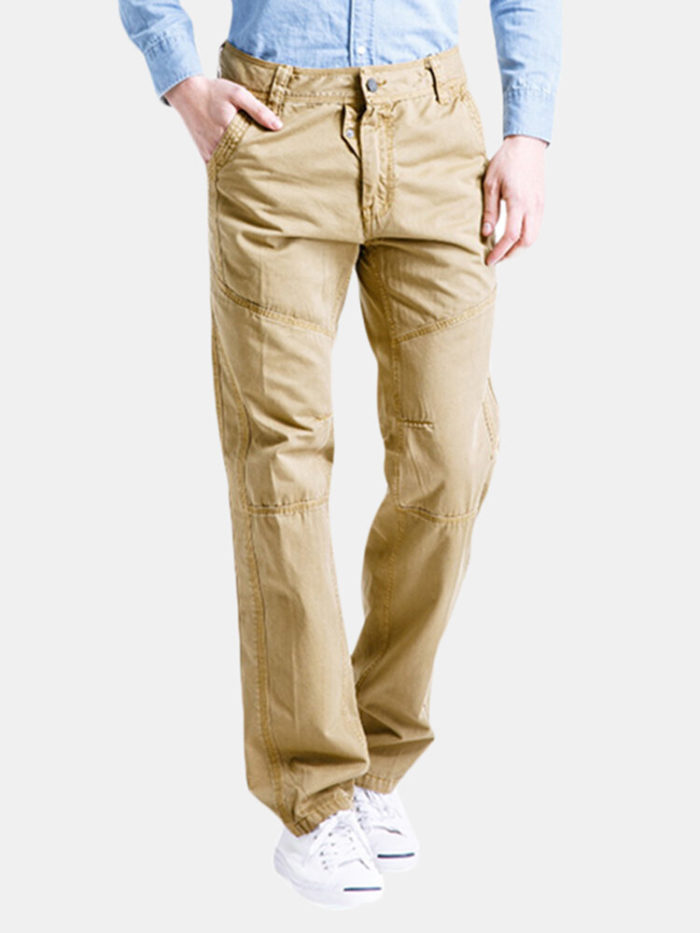 Mens Cotton Cargo Pants Straight Leg Solid Color Zippered Casual Trousers