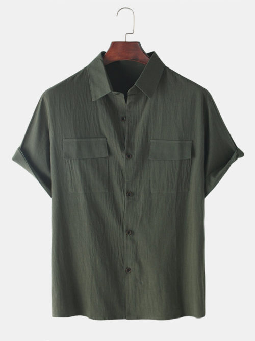 Mens Cotton Solid Color Double Pockets Short Sleeve Shirts