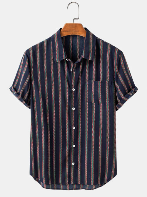 Mens Ethnic Style Striped Print Casual Breathable Short Sleeve Shirts