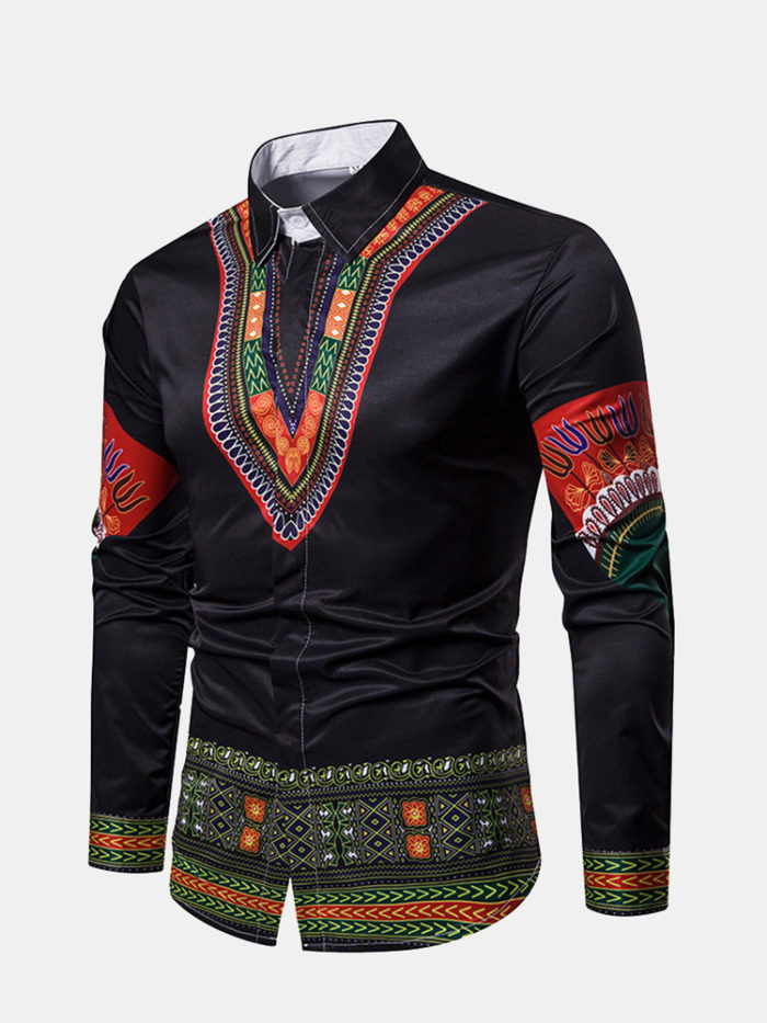 Men's Ethnic Stytle National Printed Color Long Sleeve Shirt