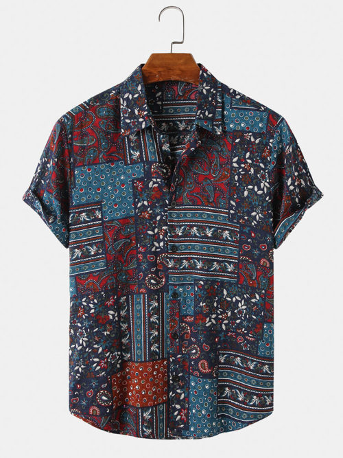 Mens Ethnic Vintage Print Casual Turn Down Collar Short Sleeve Shirts