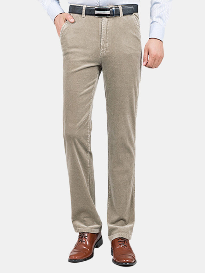 Mens Fall Winter Thick Warm Corduroy Solid Color Casual Business Straight Pants