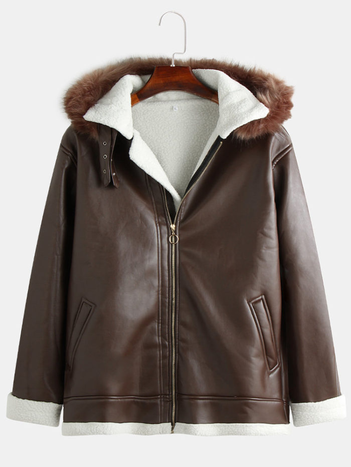 Mens Fashion Leather Hooded Coats Fleece Lining Warm Winter Fur Hooded Jackets
