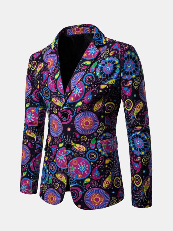 Mens Fashion Print Blazer Design Casual Male Slim Fit Suit Jackets