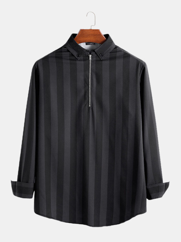 Mens Fashion Striped Long Sleeve Loose Fit Half Zipper Casual Shirts