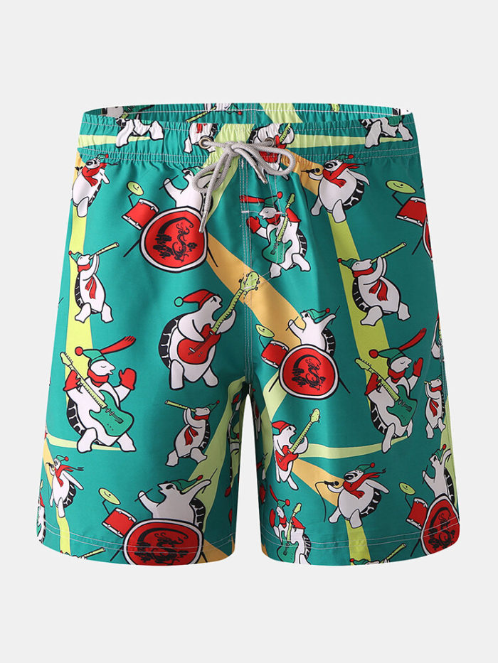 Mens Funny Cartoon Turtle Printed Board Shorts Drawstring Pocket Holiday Swim Trunk