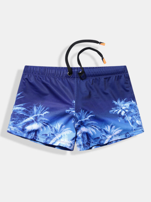 Mens Hawaii Printing Swim Shorts Quick Drying Front Pad Boxer Swimwear Swim Trunks Navy