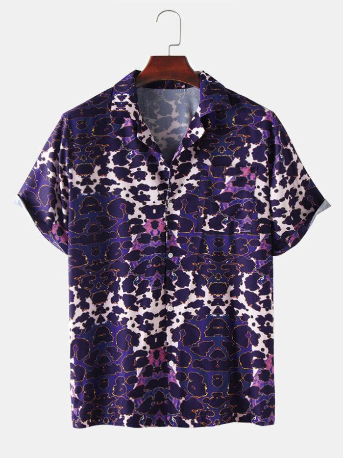 Mens Leopard Print Breathable & Thin Designer Casual Short Sleeve Shirts