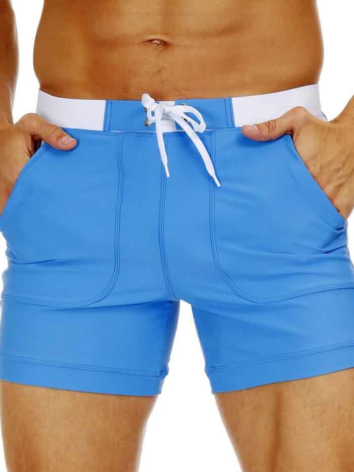 Men's Long Swimwear Swim Trunks Boxer Surf Board Shorts with Pockets