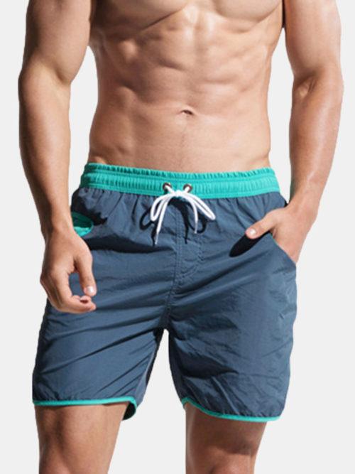 Mens Mesh Liner Drawstring Water Repellent Sport Swim Board Short With Pockets