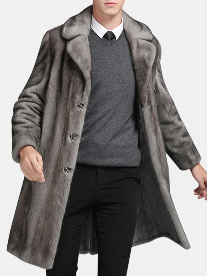 Mens Mink Faux Fur Coat Mid Long Winter Warm Slim Fit Casual Jacket