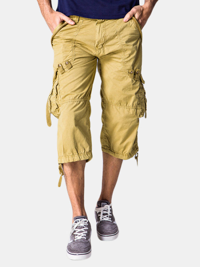 Mens Outdoor 100% Cotton Multi-pocket Solid Color Knee Length Casual Cargo Shorts