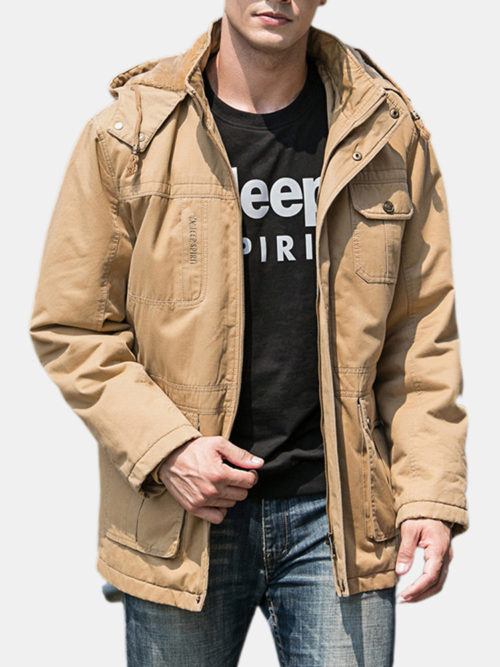 Mens Outdoor Thicken Warm Cotton Fleece Lined Mutil Pockets Hooded Parka